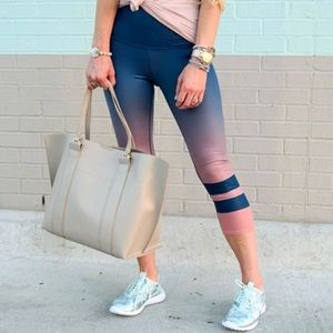 {ALO Yoga} Ombré Cropped Striped Leggings